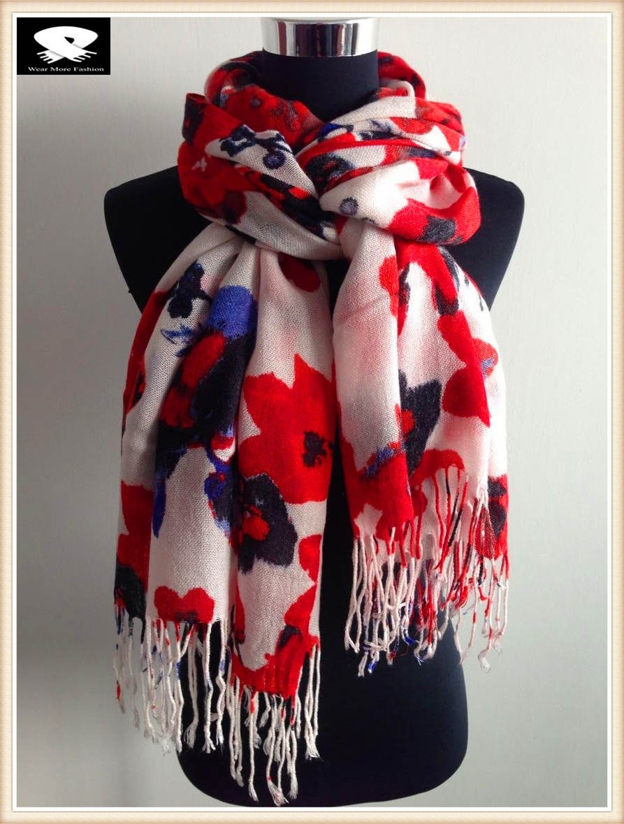 China scarf factory, red flower acrylic scarf