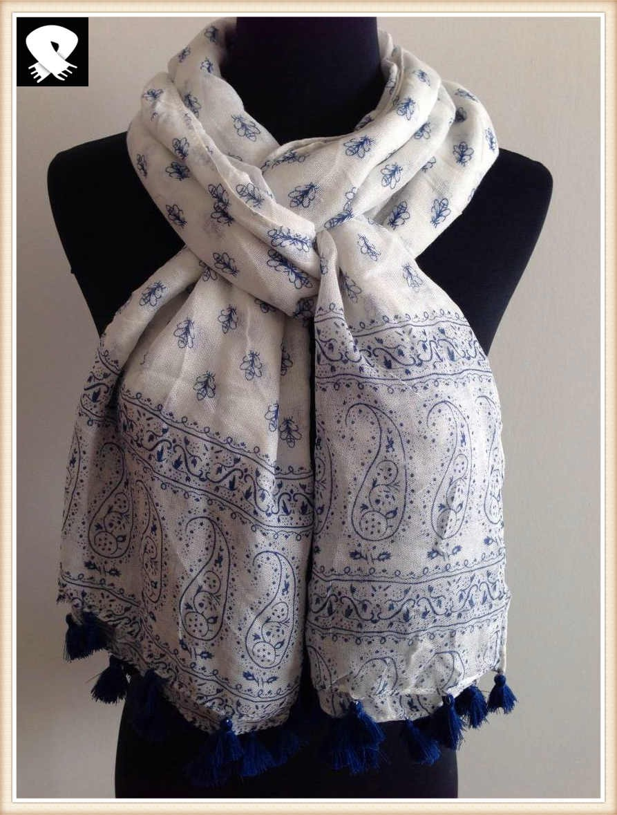 Florals scarf with navy blue poms