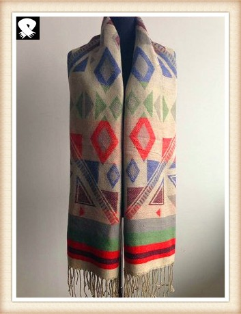 Graphic geo acrylic scarf with soft handle