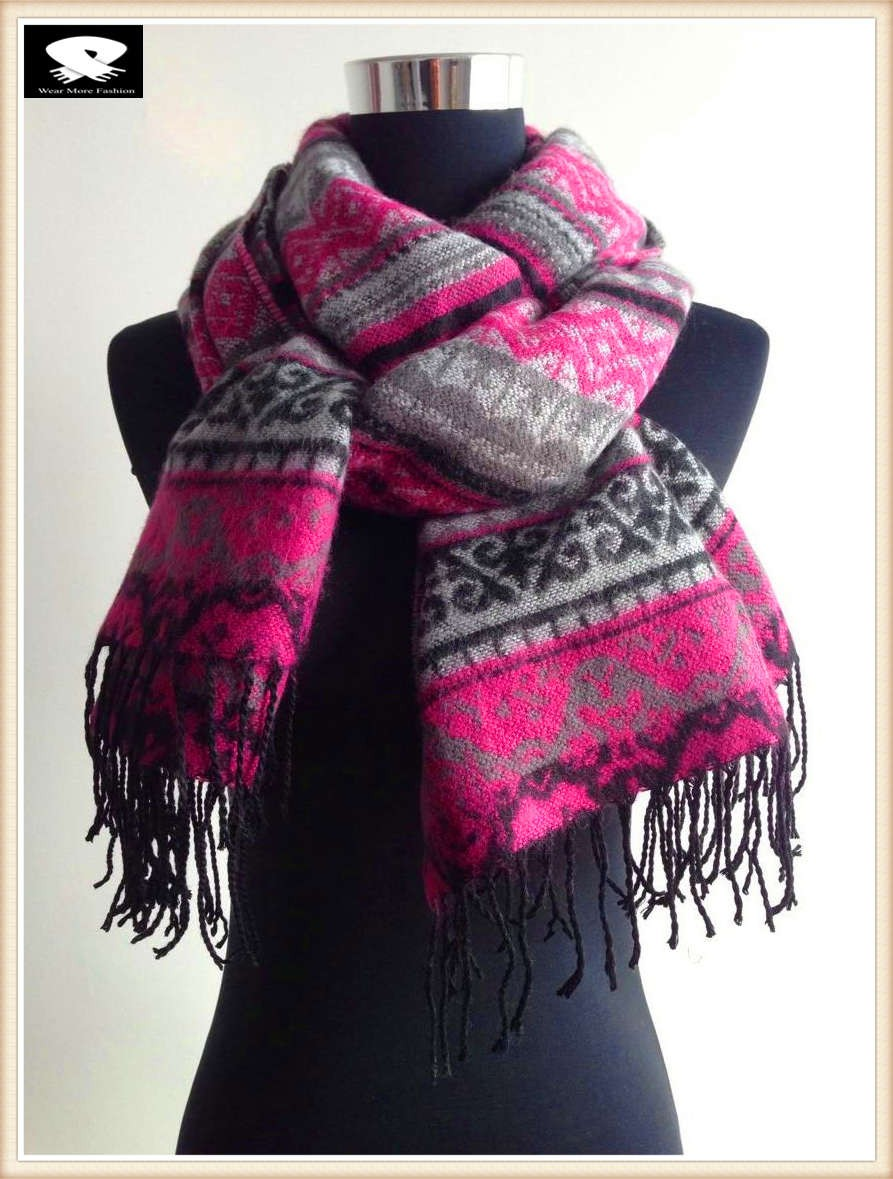 Pink geo acrylic scarf, china scarf factory
