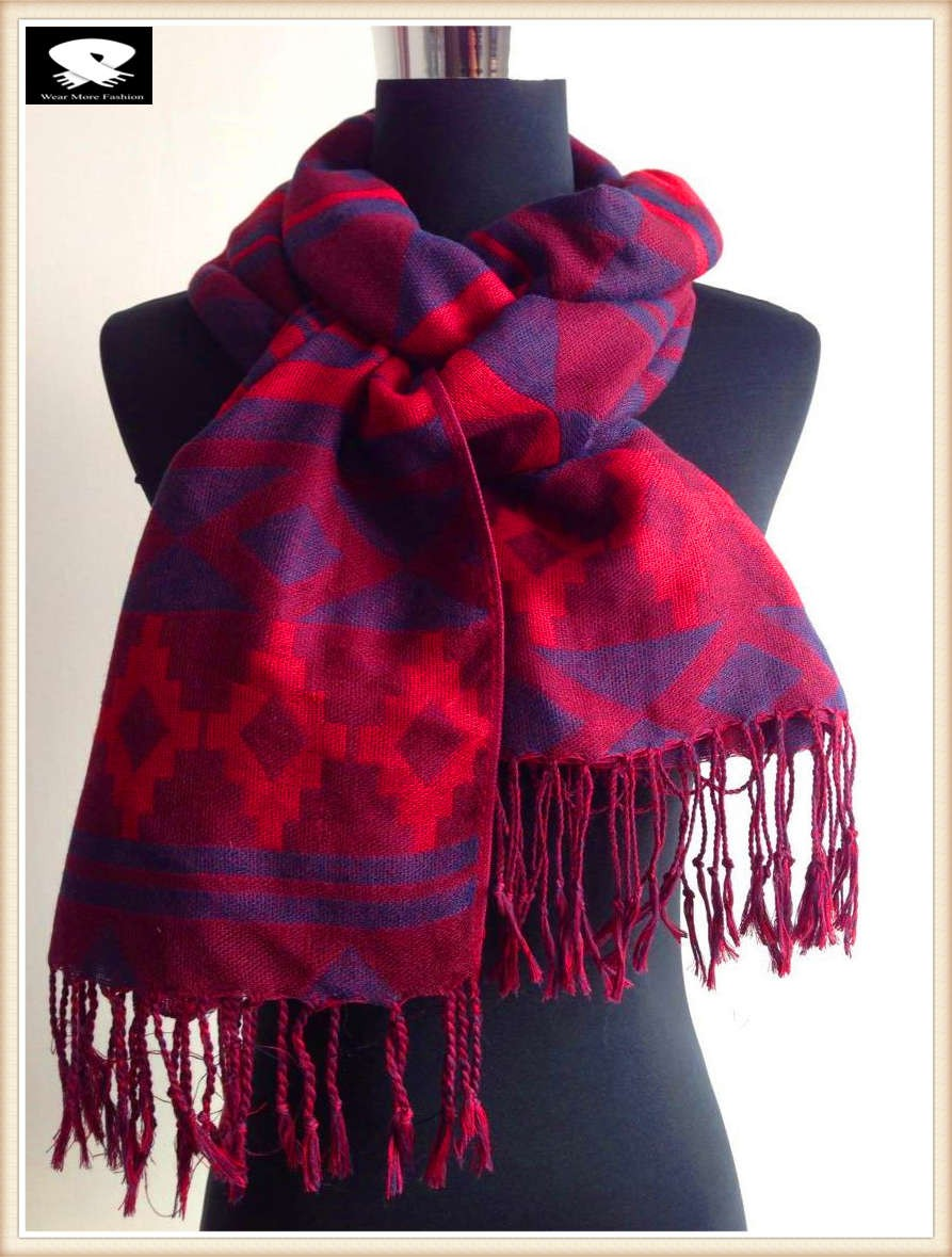 Red geo acrylic scarf, china scarf factory