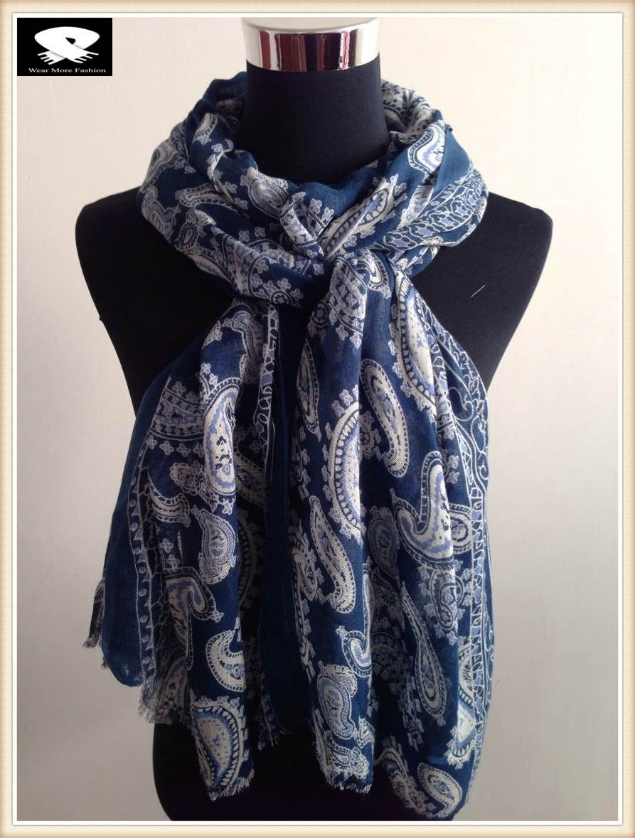 Scarf factory, navy blue paisley acrylic scarf