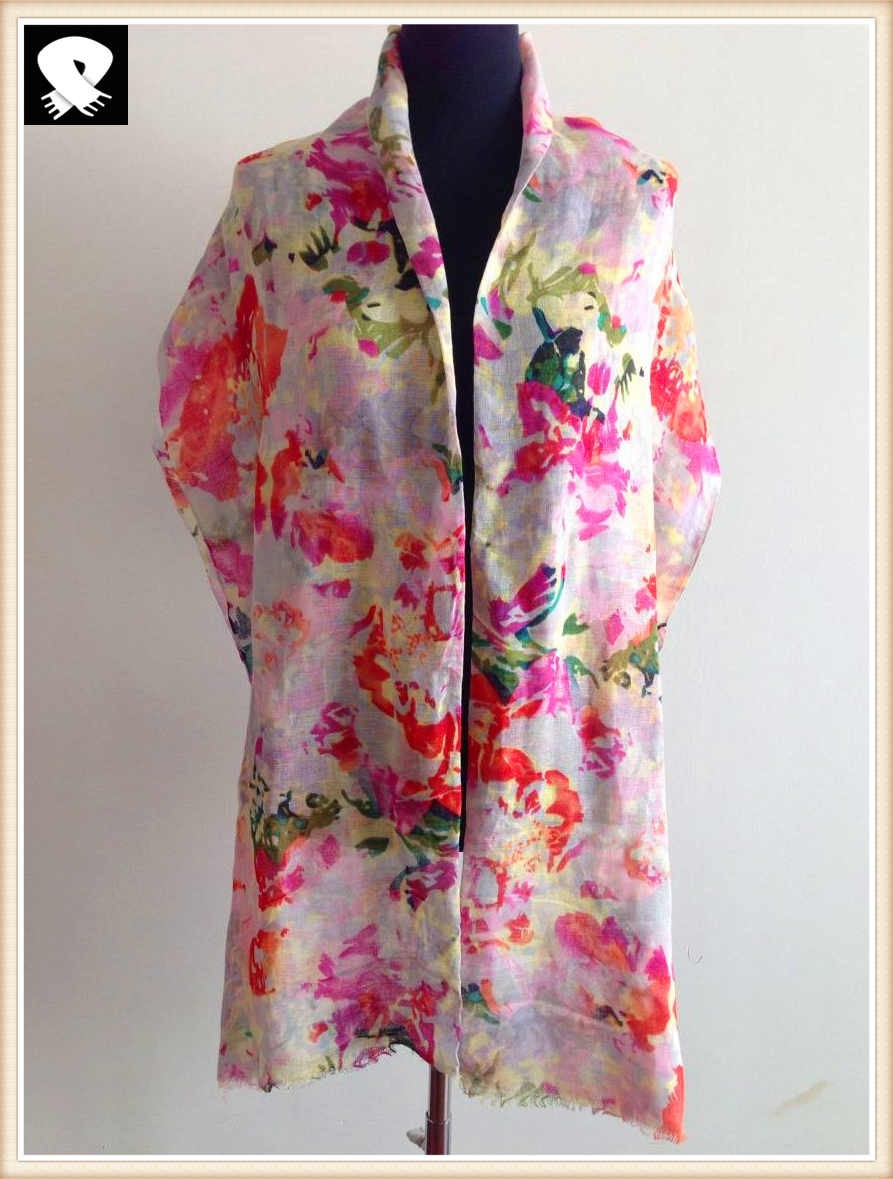 Spring flowers acrylic scarf in our scarf factory