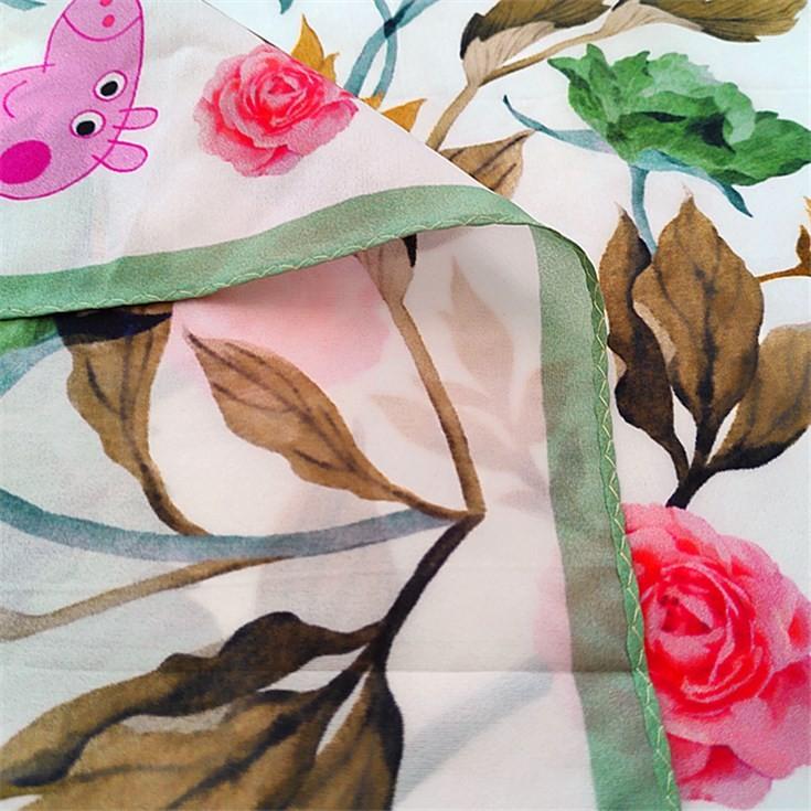 Silk scarf printer custom flowers silk habotai bandanas scarves with logo
