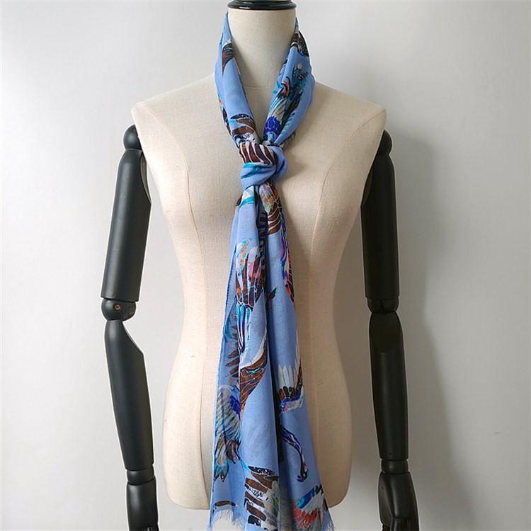 Silk scarf manufacturer digital printed blend modal and cashmere unisex scarves