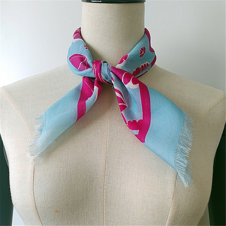 Silk scarf factory custom digital printed silk and blend silk scarves