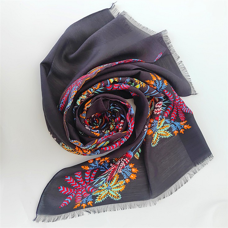 Silk scarf factory digital printed silk and merino wool scarf manufacturer