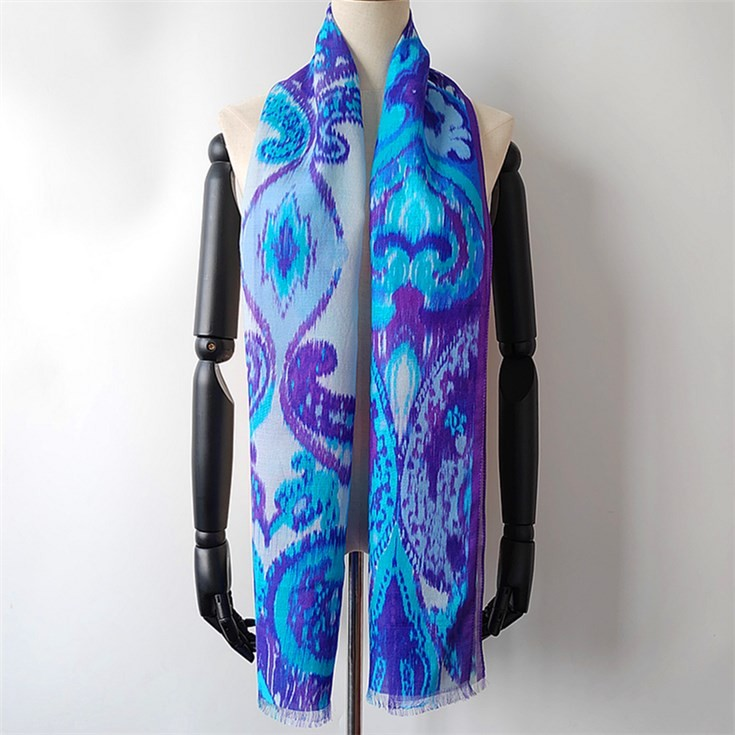 Silk scarf factory wholesale digital printed silk wool scarves in bulk