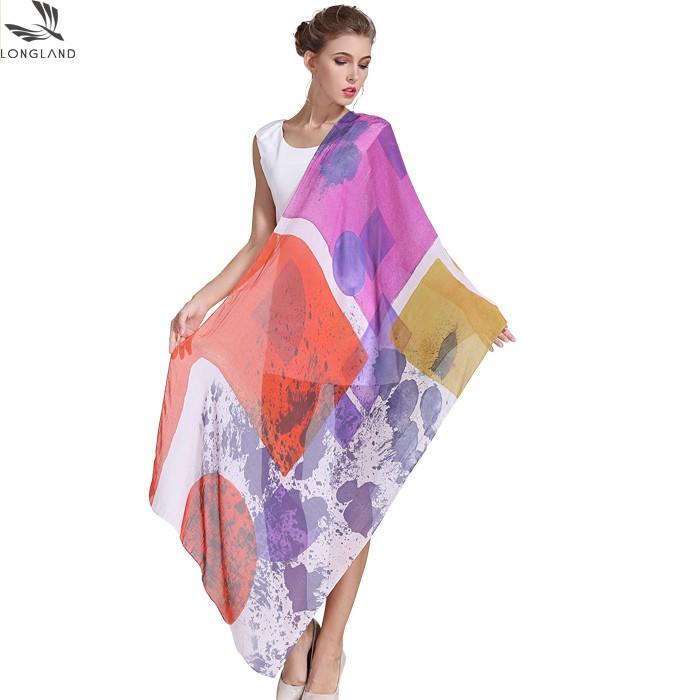 Silk scarf manufacturer digital printed blend modal and silk shawl scarves