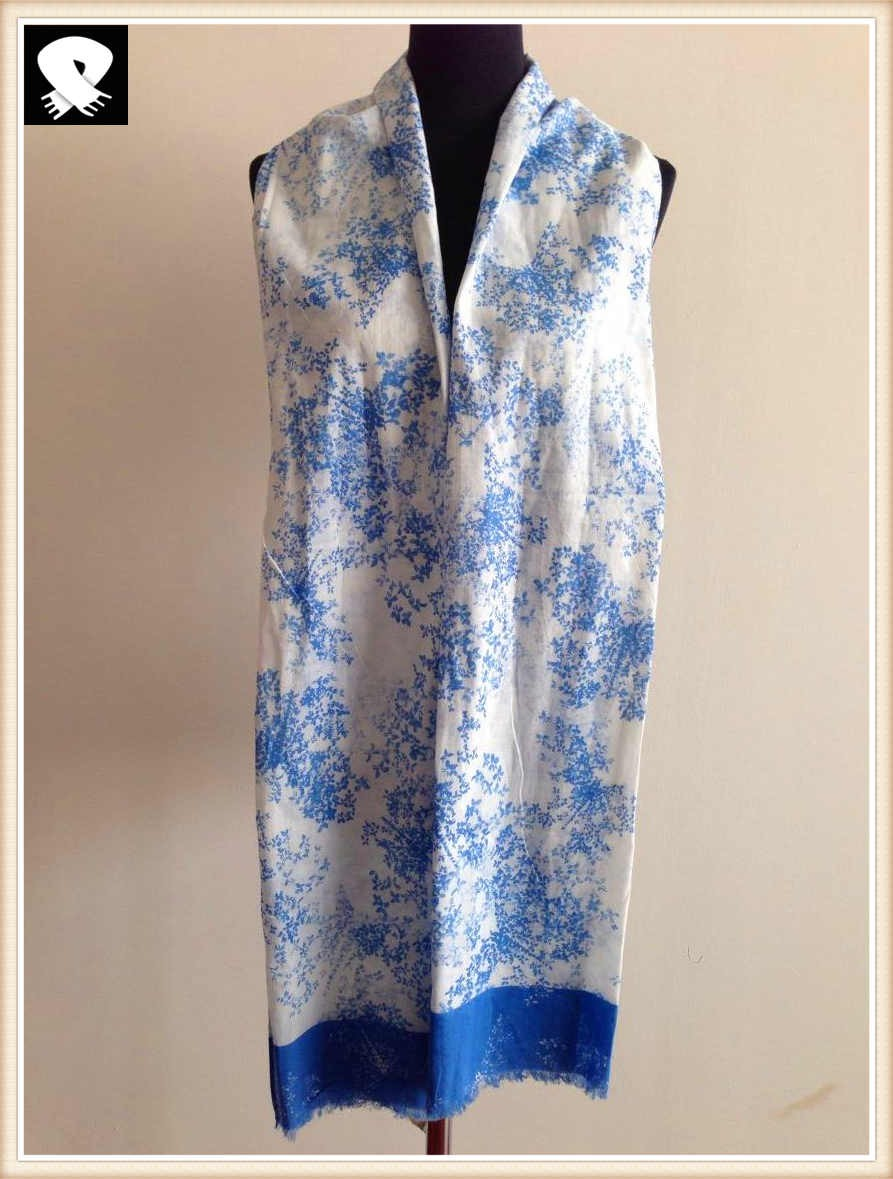 Blue florals cotton scarf, more custom colors
