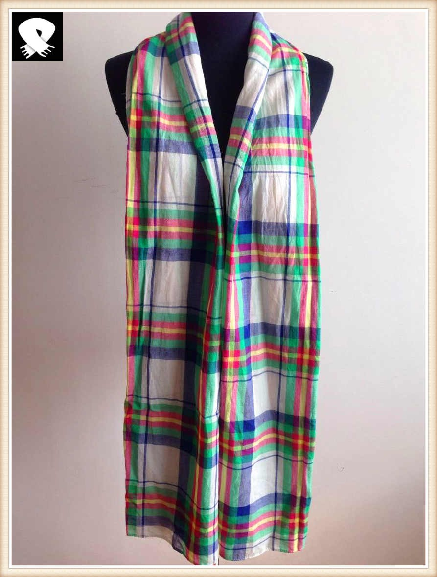Coloful checks cotton scarf, china scarf factory