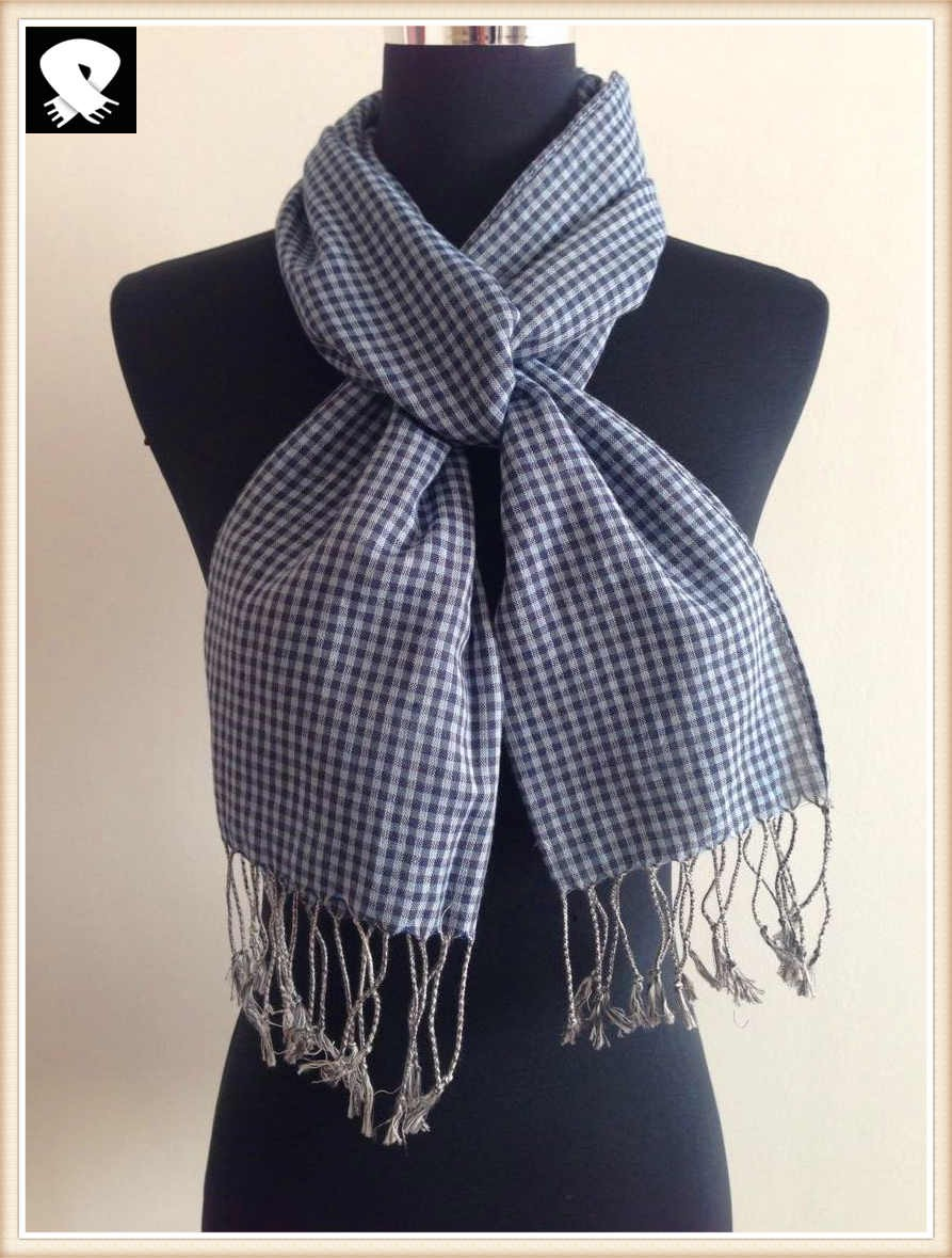 Small checks cotton scarf, more custom colors