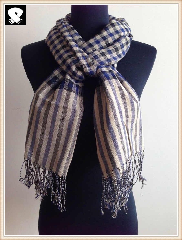 Stylish checks cotton scarf, china scarf factory
