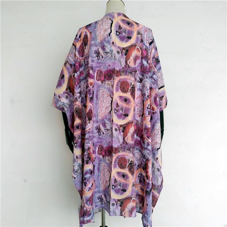 Kimono maker digital printed custom kimono robe dress with cotton and linen