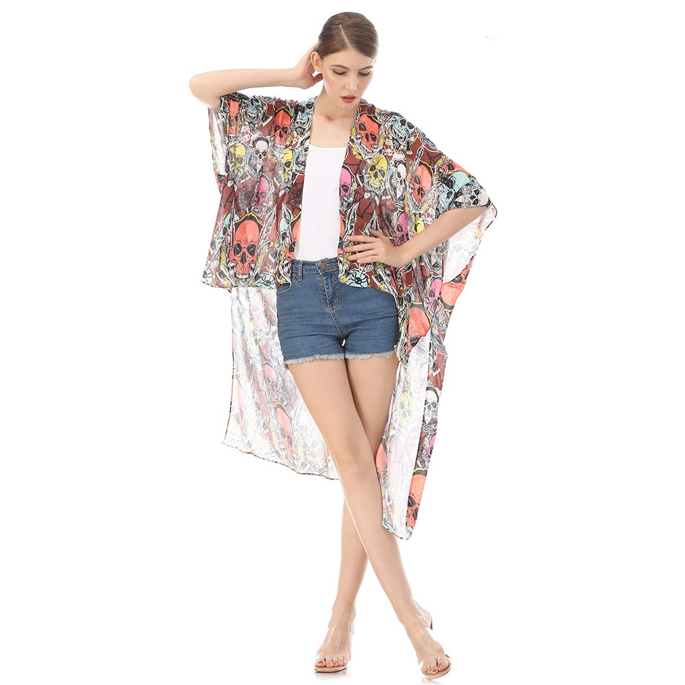 Custom kimono maker digital printed casual open front cardigan