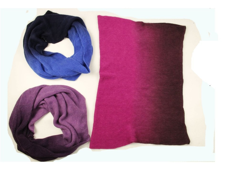 Gradient color infinity scarves