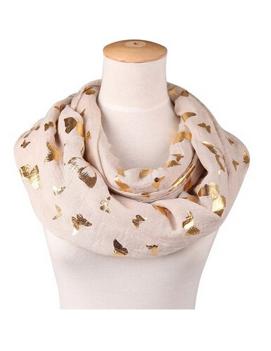 Infinity scarves with gold butterflys
