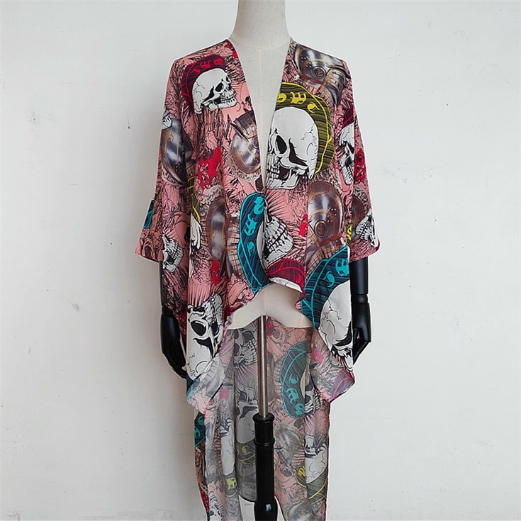 Custom kimono maker digital printed casual open front cardigan