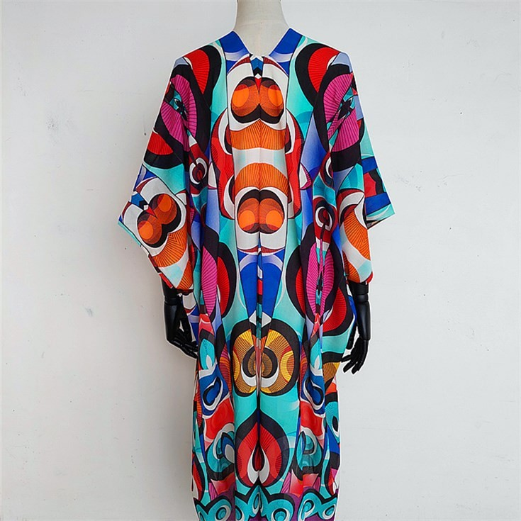 Digital printed scarf factory printed long kimono jacket