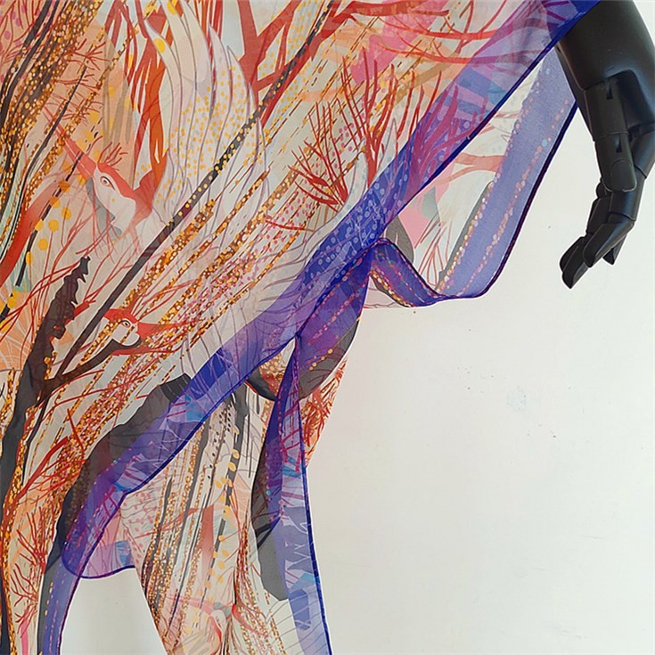Custom kimono maker digital printing custom 100% pure silk chiffon kimono jacket