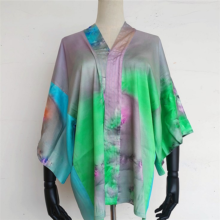 Custom kimono maker printed kimono robe silk