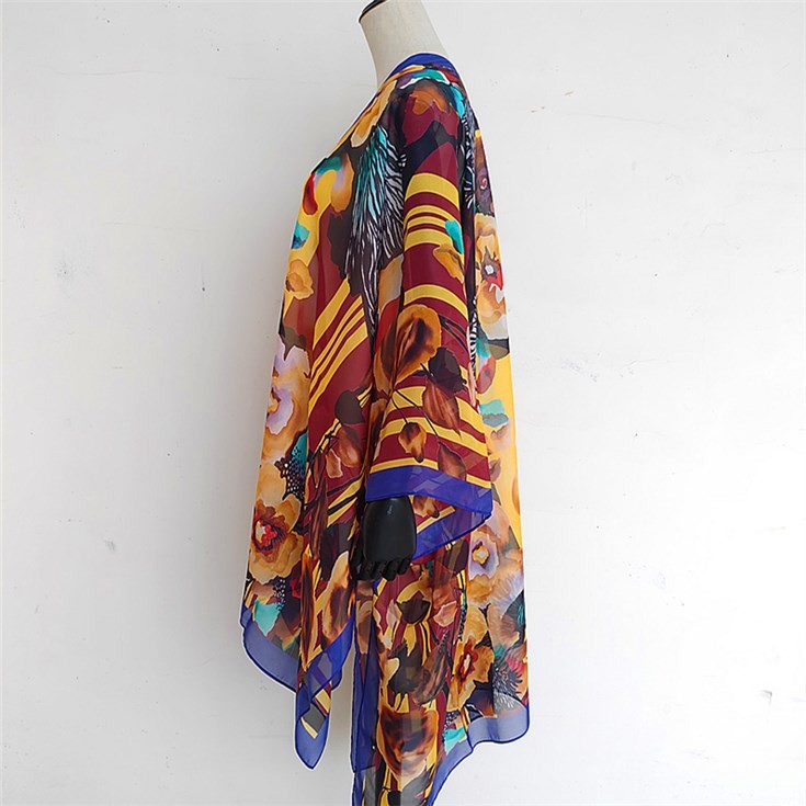 Custom kimono maker wholesale custom print women floral chiffon kimono cardigan