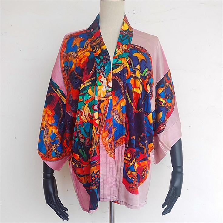 kimono maker custom digital printed short kimono cardigan jacket top