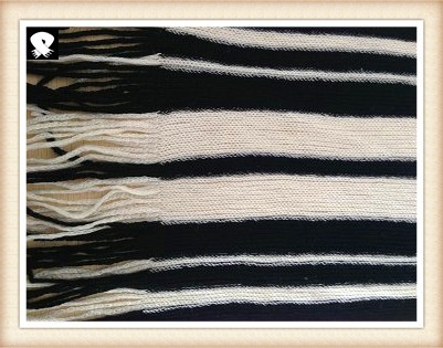Black and white striped knitted scarf