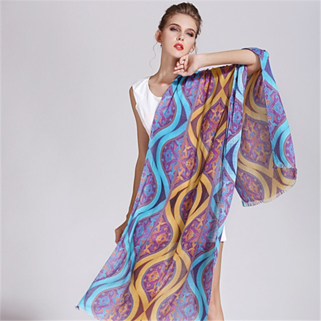 Custom made design digital printed scarves in our scarf factory