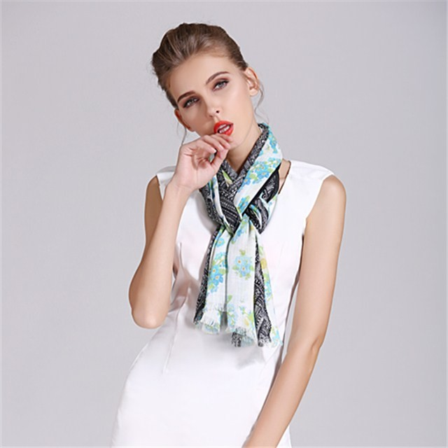 Customized digital printed linen and viscose scarf