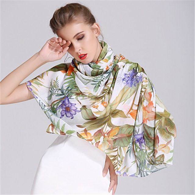 Digital custom printed high quality oblong size scarf in china scarf factory