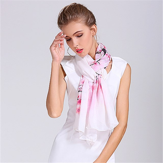 Digital printed ladies modal and silk scarf in our bandanna factory