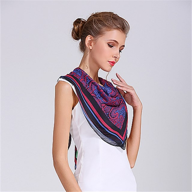 Digital printed square size ladies handkerchief in our china scarf factory