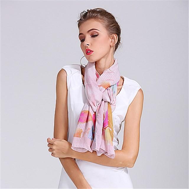 Oblong size custom digital printed modal silk scarf shawl