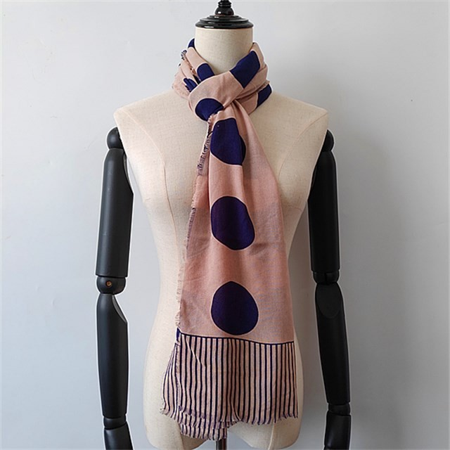 Scarf factory custom polka dots designs printed modal and silk scarf