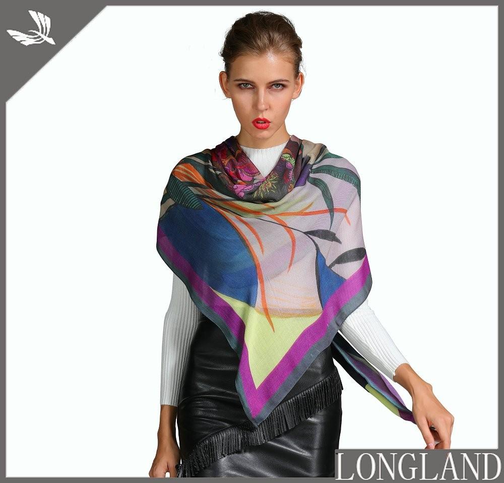 Silk scarf supplier floral printed silk scarf