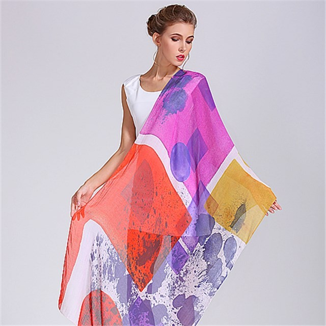 Supre soft modal and silk custom printed shawl scarf in our scarf factory
