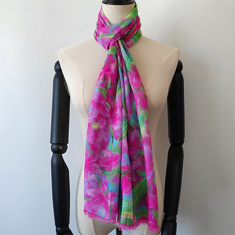 silk scarf suppliers china printing floral on the modal silk scarves