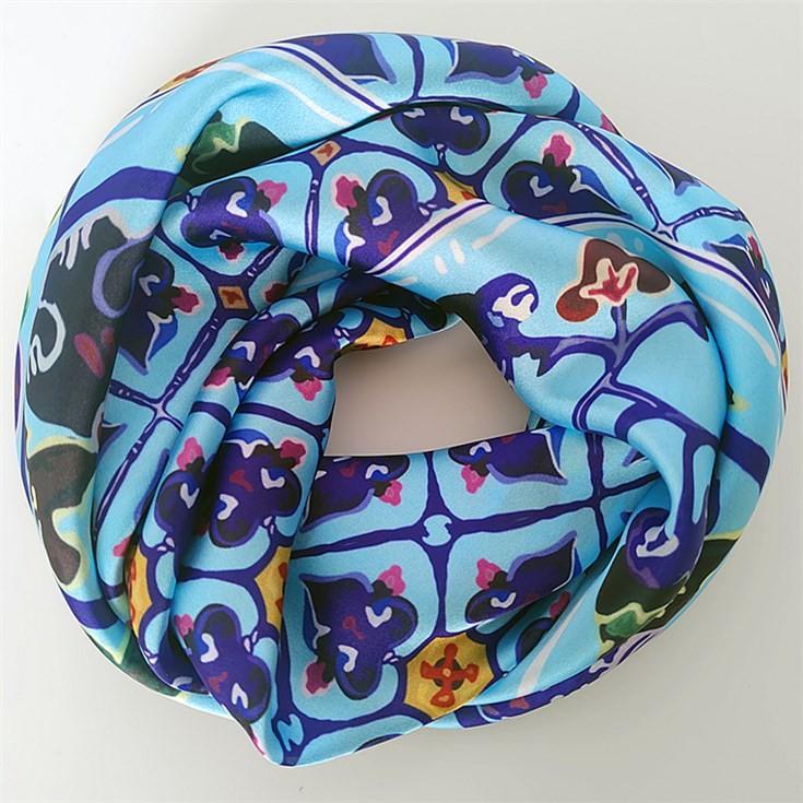 Scarf manufacturer custom photo hair silk scarf with logo