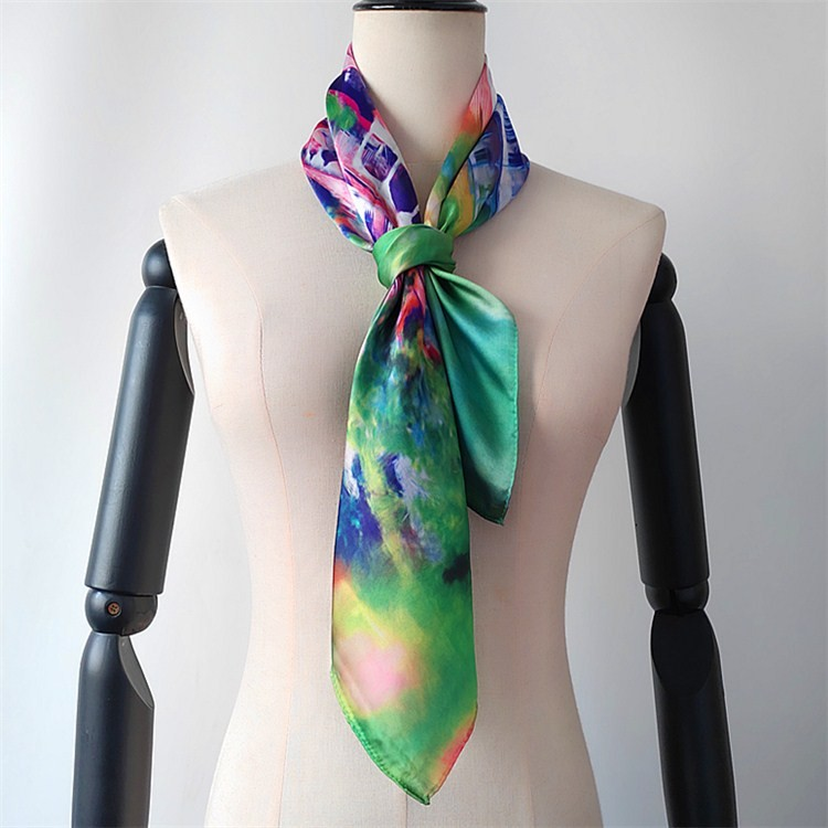 Scarf manufacturer sublimation printed silk like custom scarves