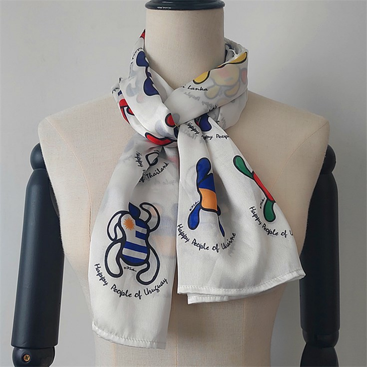 Scarf factory sublimation printed poly new silk scarf