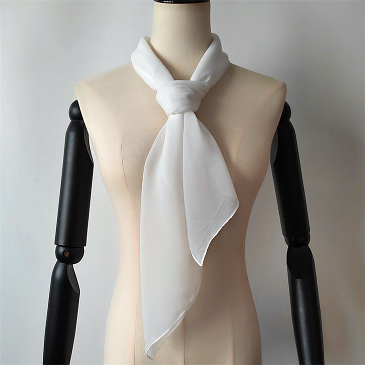 Wholesale bank white silk like poly chiffon velvet scarf from scarf manufacturer