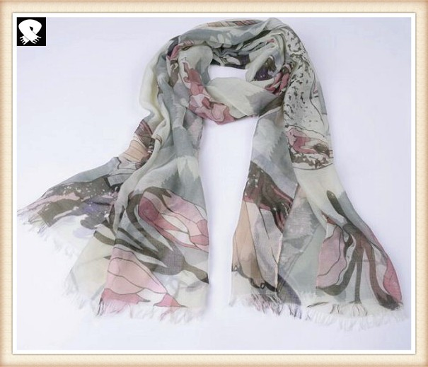 Birds printed polyester scarf, china scarf factory