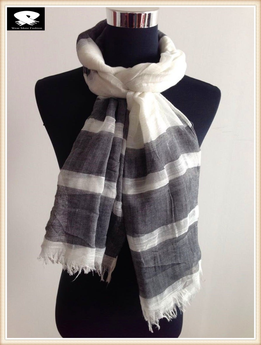 Black stripes polyester scarf with the linen feel