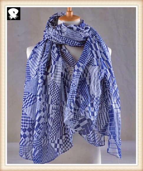 Blue geo polyester ladies scarves