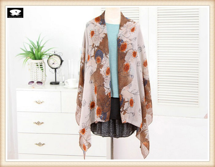 Fashion floral and soft polyester scarf