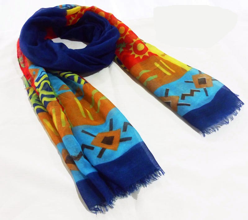 Fashion geo polyester scarf made in scarf factory