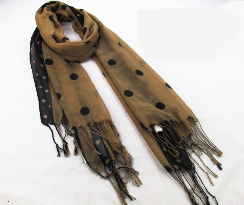 Polka-dotted polyester scarf