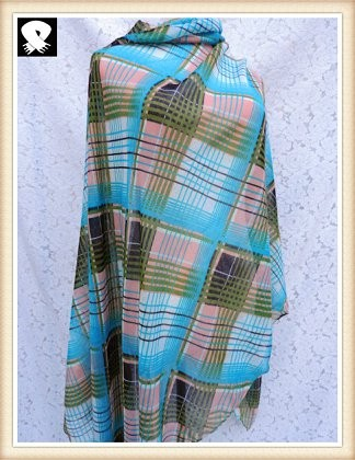 Scarf factory with colorful checks polyester scarf