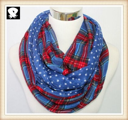 Scarf factory with the polka dots and checks scarf